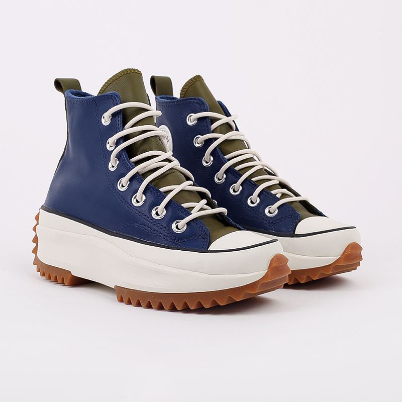 женские синие  кеды converse run star hike hi 568650 - цена, описание, фото 2