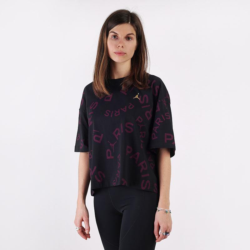 женскую черную  футболка jordan paris saint-germain boxy short-sleeve t-shirt CU5696-010 - цена, описание, фото 1