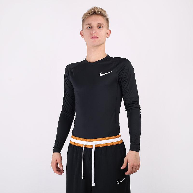 мужской черный  лонгслив nike pro tight-fit long-sleeve top BV5588-010 - цена, описание, фото 1