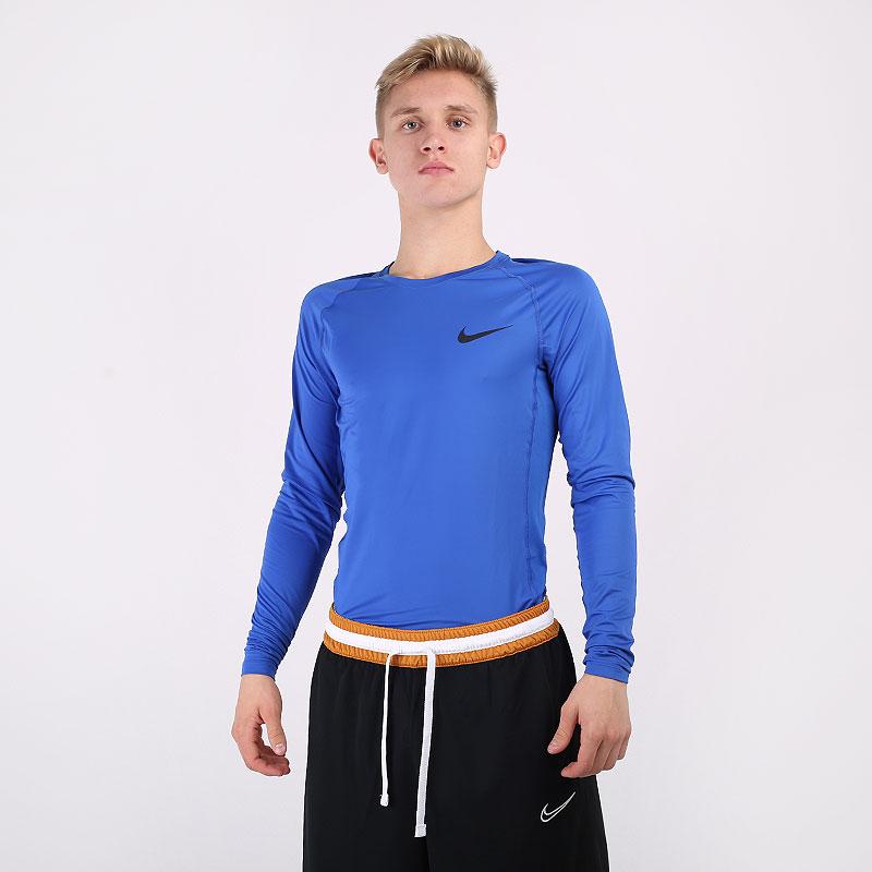 мужской синий  лонгслив nike pro tight-fit long-sleeve top BV5588-480 - цена, описание, фото 1