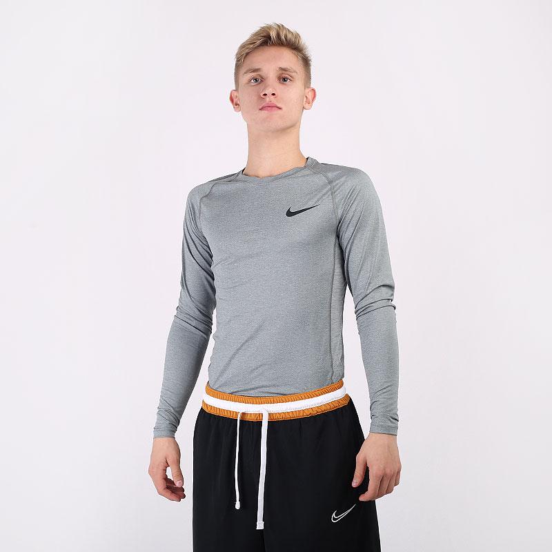 мужской серый  лонгслив nike pro tight-fit long-sleeve top BV5588-068 - цена, описание, фото 1