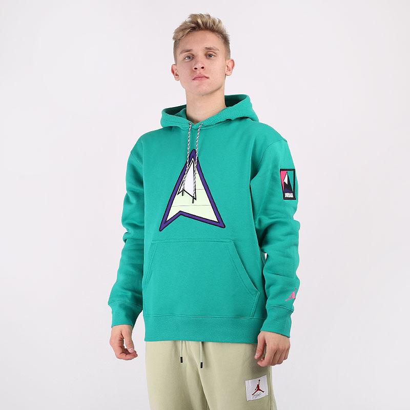мужскую зеленую  толстовка jordan winter utility fleece pullover hoodie CT3489-370 - цена, описание, фото 1