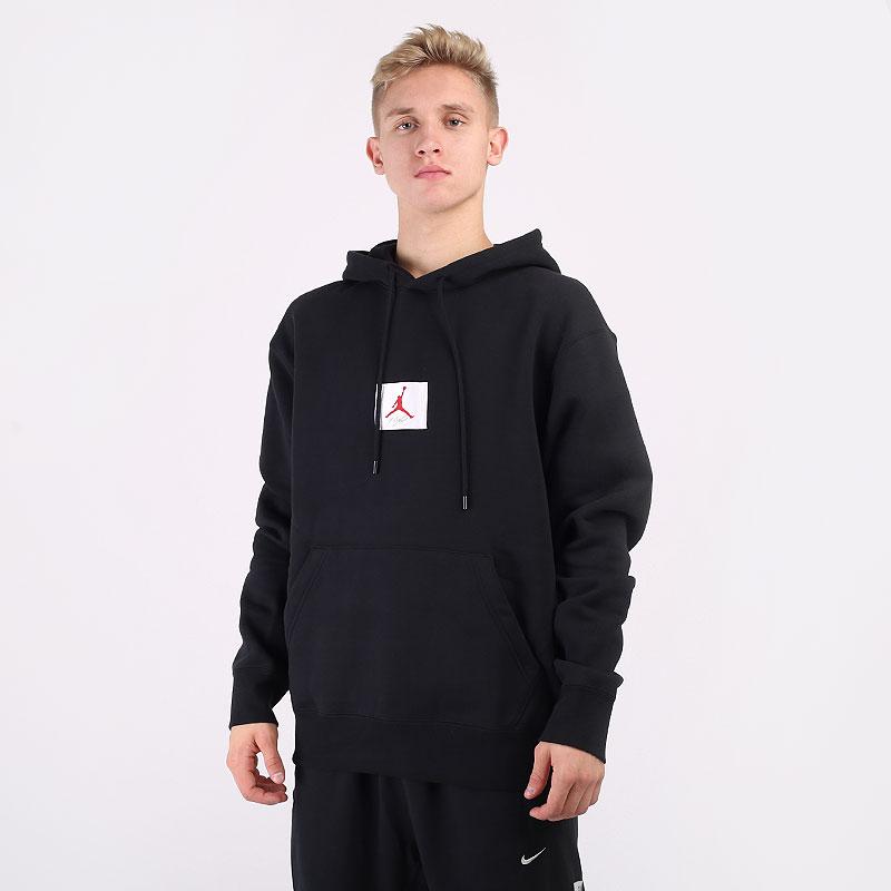 мужскую черную  толстовка jordan flight fleece pullover hoodie CV6146-010 - цена, описание, фото 1