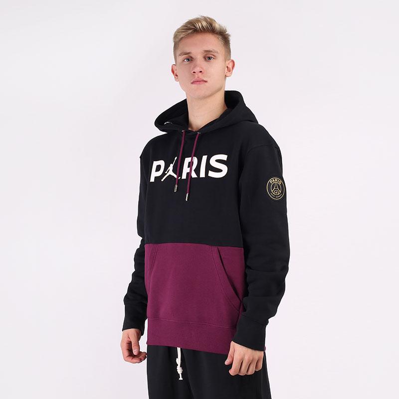 мужскую черную  толстовка jordan paris saint-germain fleece pullover hoodie CK9773-010 - цена, описание, фото 1