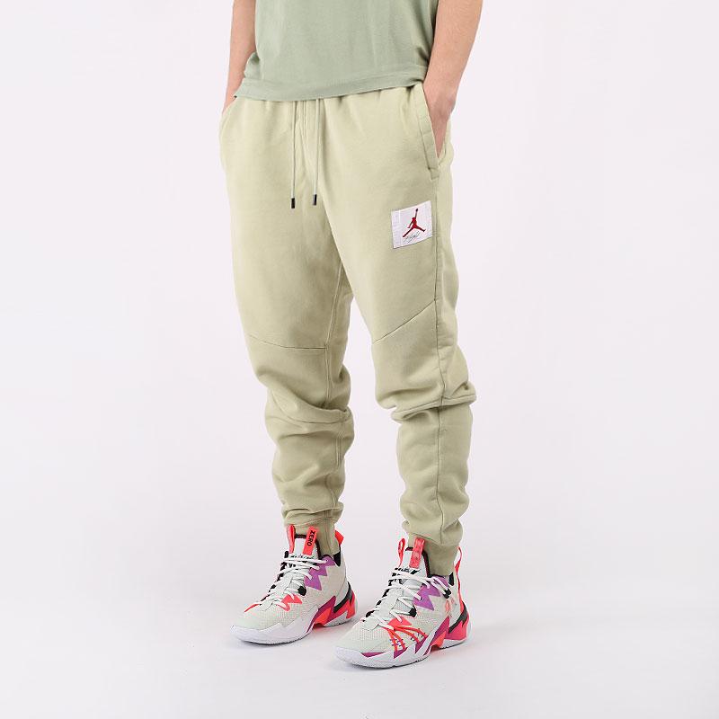 мужские зеленые  брюки jordan flight fleece trousers CK6470-354 - цена, описание, фото 1