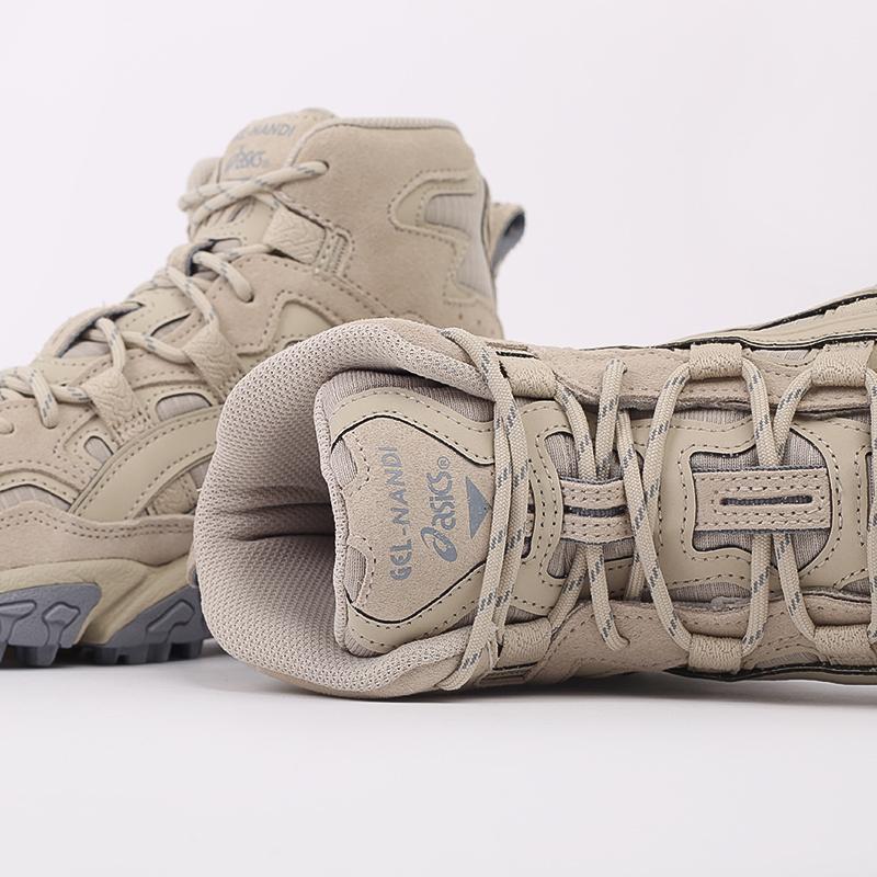 мужские бежевые  кроссовки asics gel-nandi hi 1021A475-200 - цена, описание, фото 6