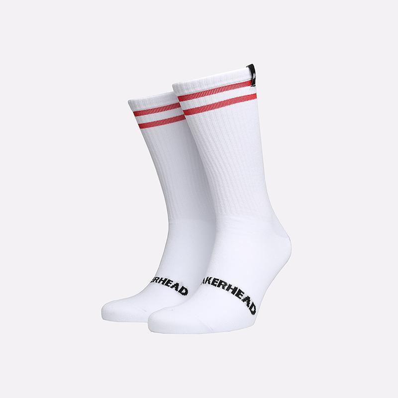 мужские белые  носки sneakerhead 2 stripes SNKR white-red - цена, описание, фото 1