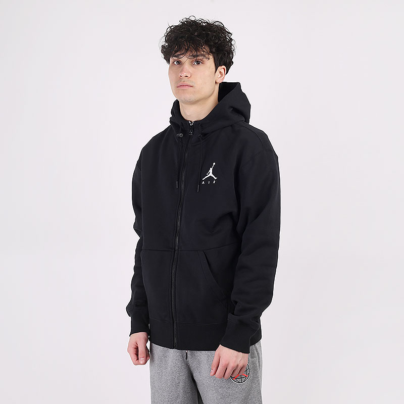 мужскую черную  толстовка jordan jumpman air fleece full-zip hoodie CK6679-010 - цена, описание, фото 1