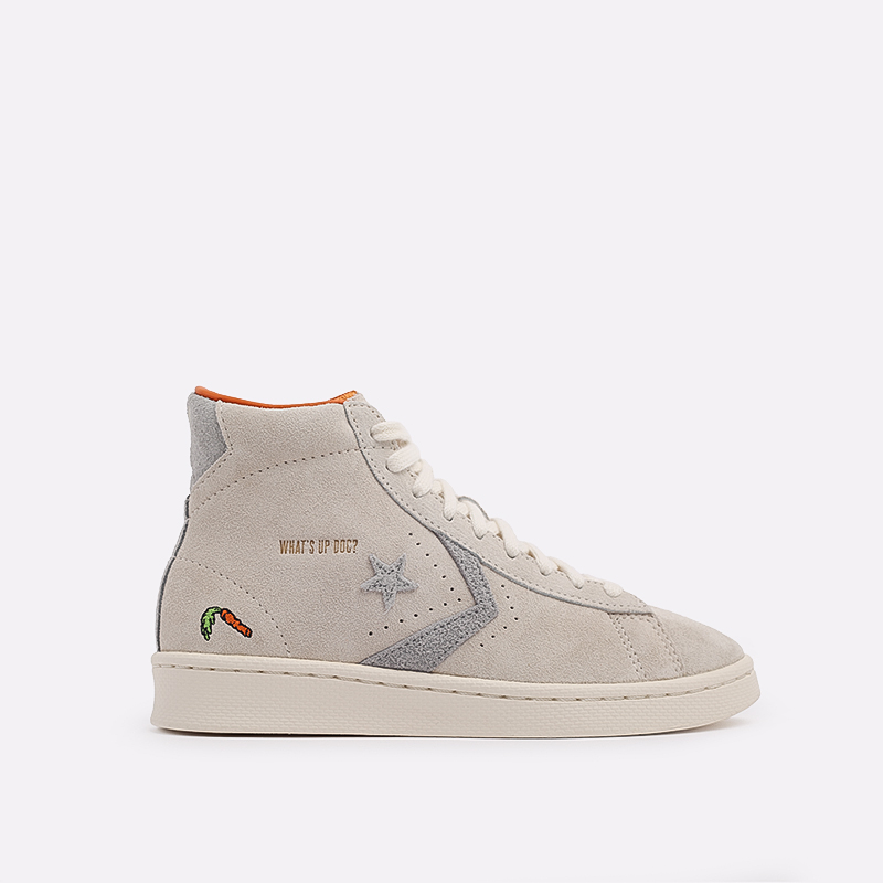 бежевые  кеды converse pro leather high top x bugs bunny 169223 - цена, описание, фото 1