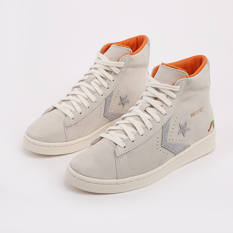 бежевые  кеды converse pro leather high top x bugs bunny 169223 - цена, описание, фото 8