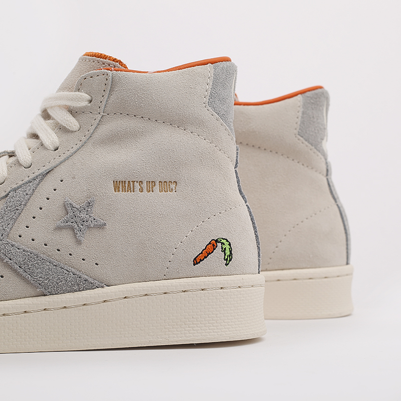 бежевые  кеды converse pro leather high top x bugs bunny 169223 - цена, описание, фото 5