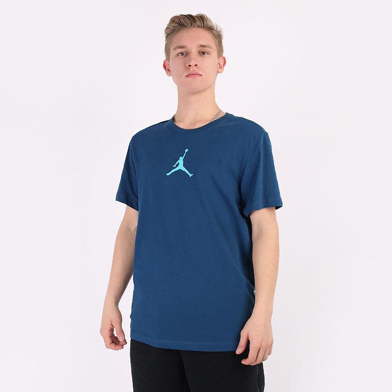 мужскую синюю  футболка jordan jumpman short-sleeve tee CW5190-432 - цена, описание, фото 1