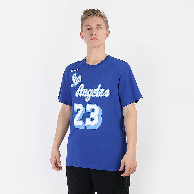 мужскую синюю  футболка nike nba lebron james los angeles lakers classic edition t-shirt CT9914-495 - цена, описание, фото 1