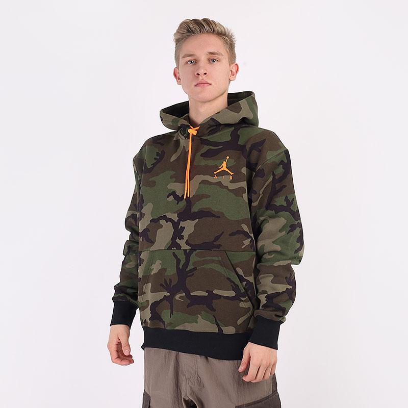 мужскую зеленую  толстовка jordan jumpman air camo fleece pullover hoodie CT3805-222 - цена, описание, фото 1