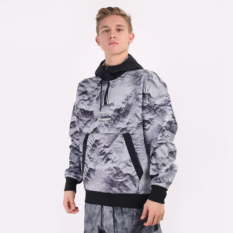 мужскую серую  толстовка jordan 23 engineered printed pullover hoodie CU9148-100 - цена, описание, фото 1