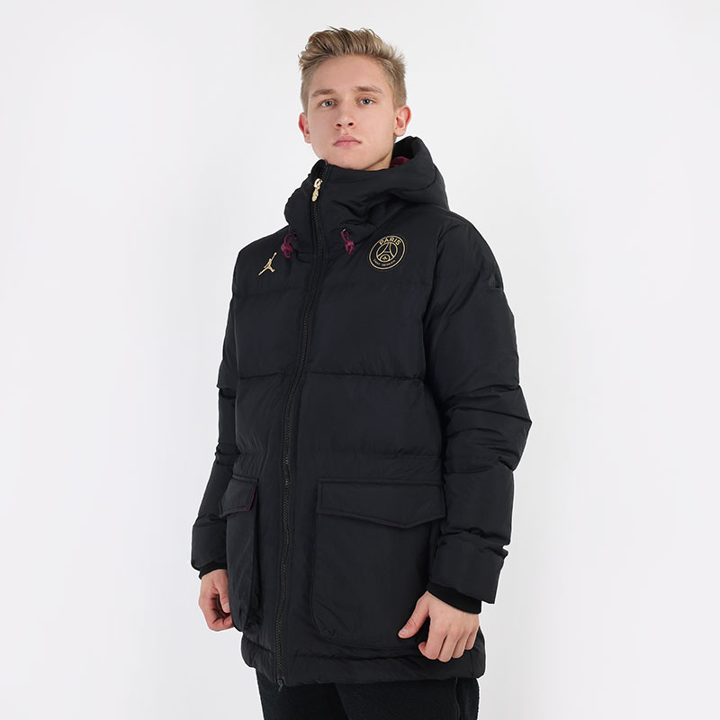 мужскую черную  куртку jordan paris saint-germain down parka solid CW3173-010 - цена, описание, фото 1
