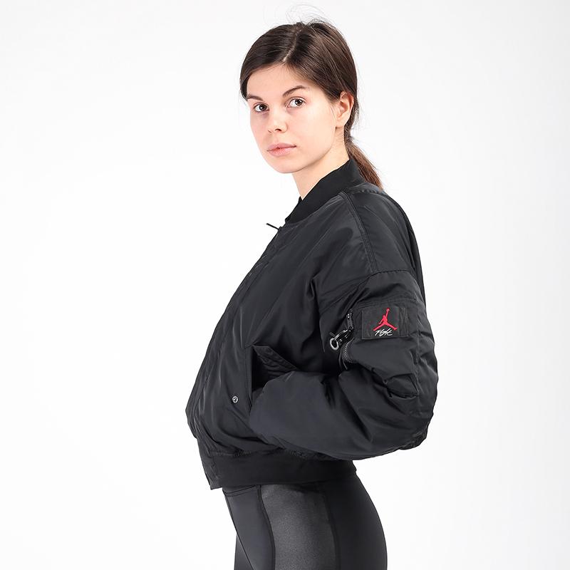 женскую чёрную  куртку jordan flight CW6447-010 - цена, описание, фото 1