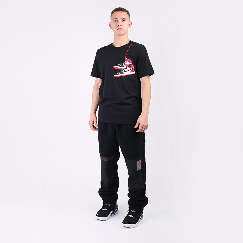 мужскую чёрную  футболка jordan 1 crew CZ0432-010 - цена, описание, фото 2