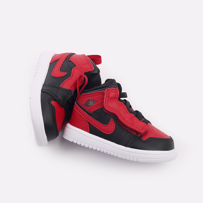 детские чёрные, красные  кроссовки jordan 1 mid alt (td) AR6352-074 - цена, описание, фото 5