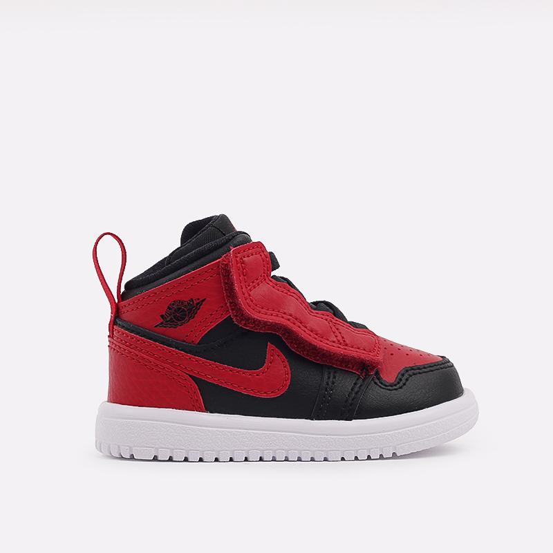 детские чёрные, красные  кроссовки jordan 1 mid alt (td) AR6352-074 - цена, описание, фото 1