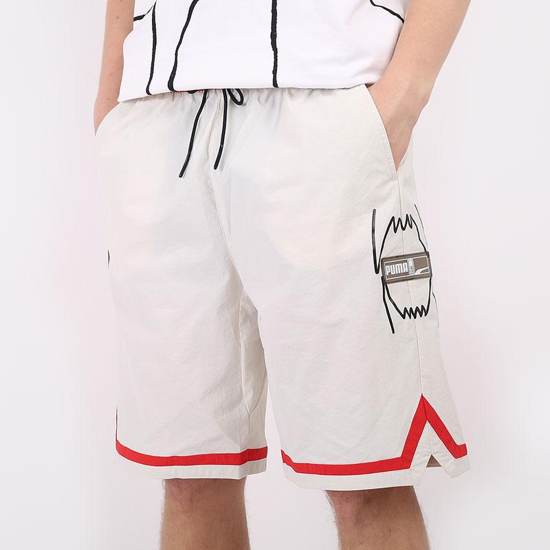 мужские бежевые  шорты  puma franchise woven short 53031303 - цена, описание, фото 1
