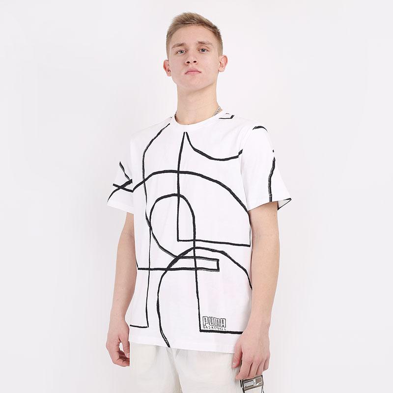 мужскую белую  футболка puma court aop tee 53057101 - цена, описание, фото 1