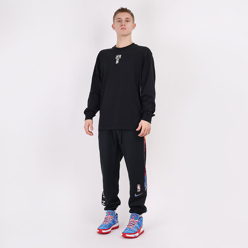 мужской черный  лонгслив nike brooklyn nets city edition long sleeve CT9397-010 - цена, описание, фото 6