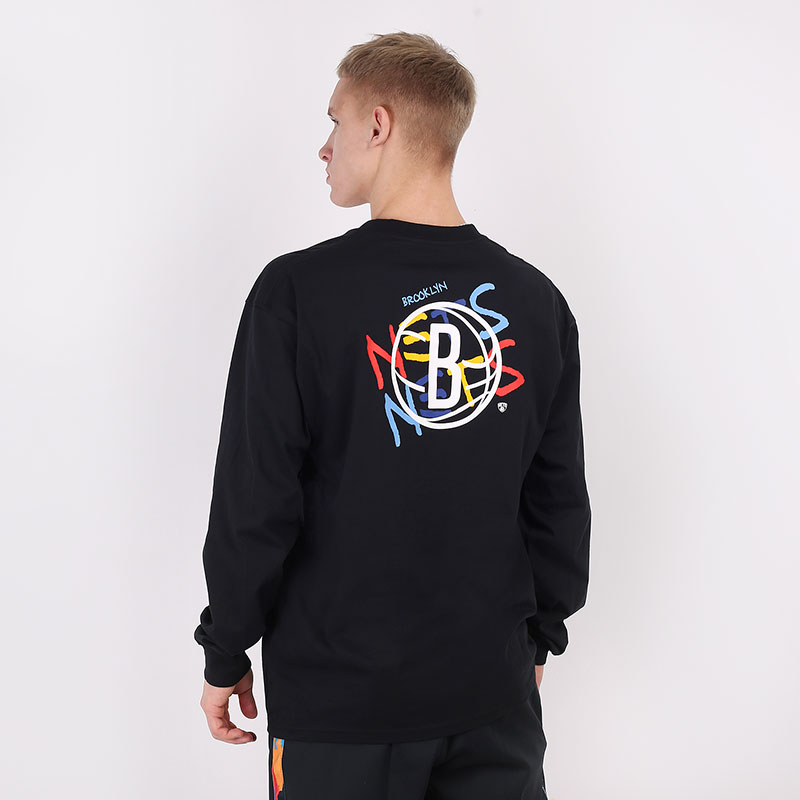 мужской черный  лонгслив nike brooklyn nets city edition long sleeve CT9397-010 - цена, описание, фото 4