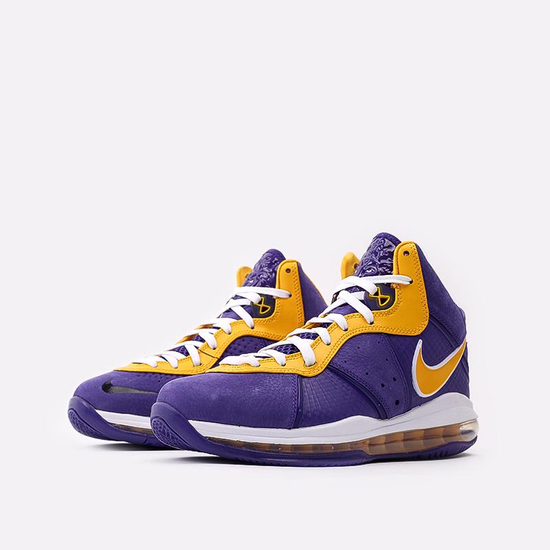 мужские фиолетовые, жёлтые  кроссовки nike lebron viii qs DC8380-500 - цена, описание, фото 2