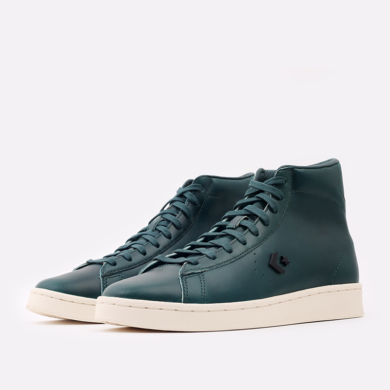 зелёные  кеды converse pro leather hi 168751 - цена, описание, фото 2