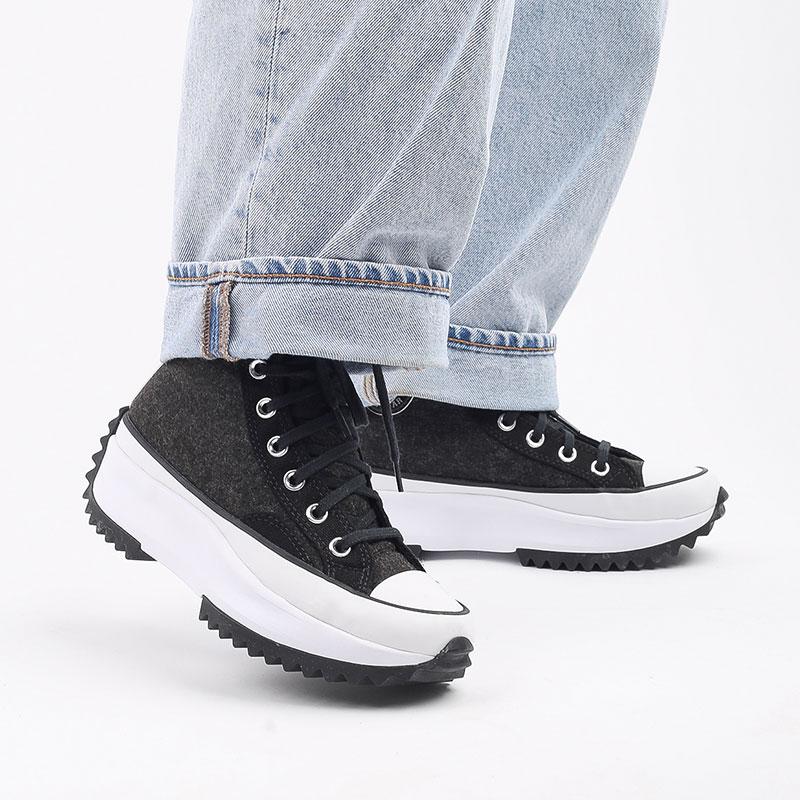 чёрные  кеды converse run star hike hi 169437 - цена, описание, фото 8