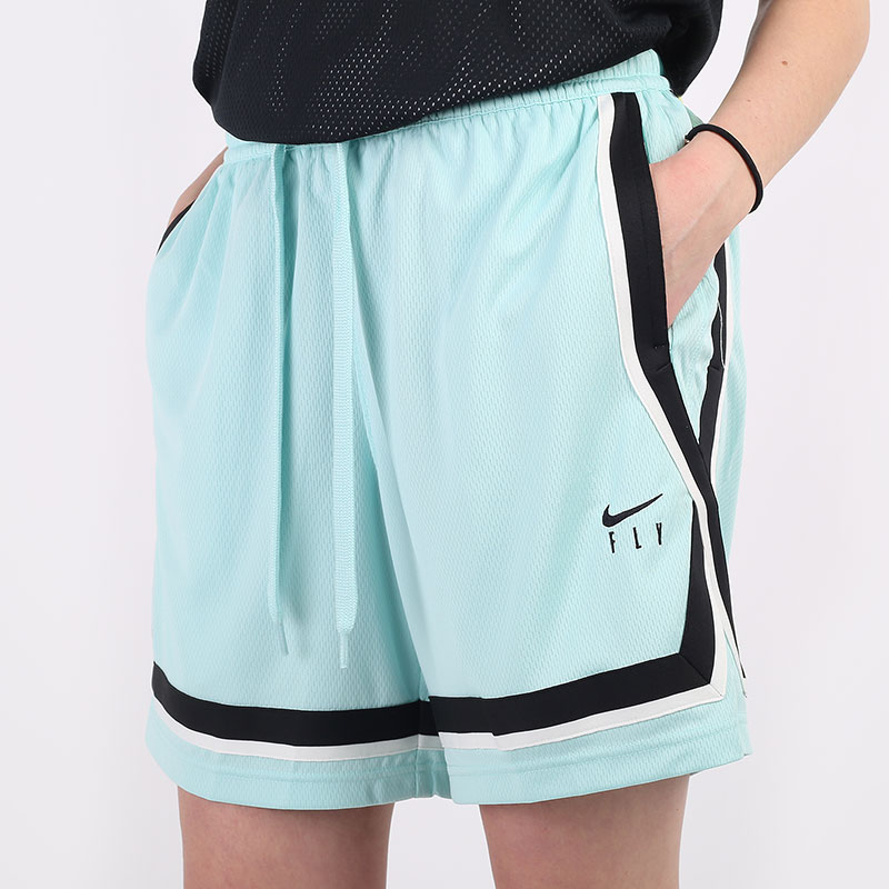 женские голубые  шорты  nike dri-fit swoosh fly women's basketball shorts CK6599-382 - цена, описание, фото 1