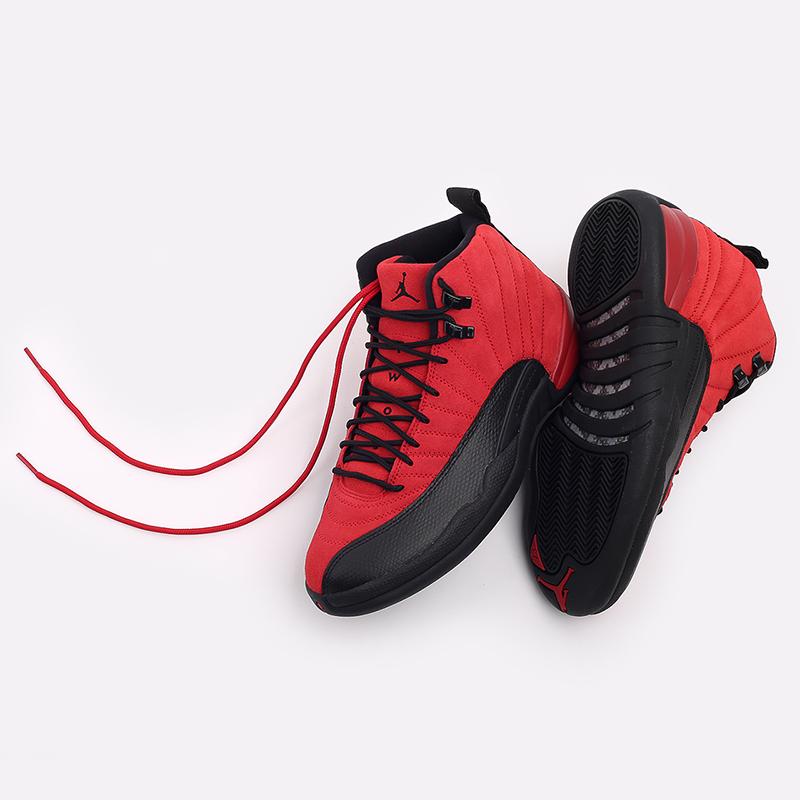 мужские красные, чёрные  кроссовки jordan 12 retro CT8013-602 - цена, описание, фото 7