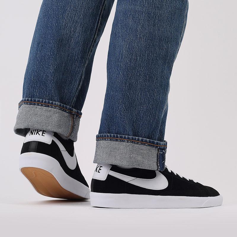 мужские чёрные  кроссовки nike blazer low prm vntg suede 538402-004 - цена, описание, фото 7