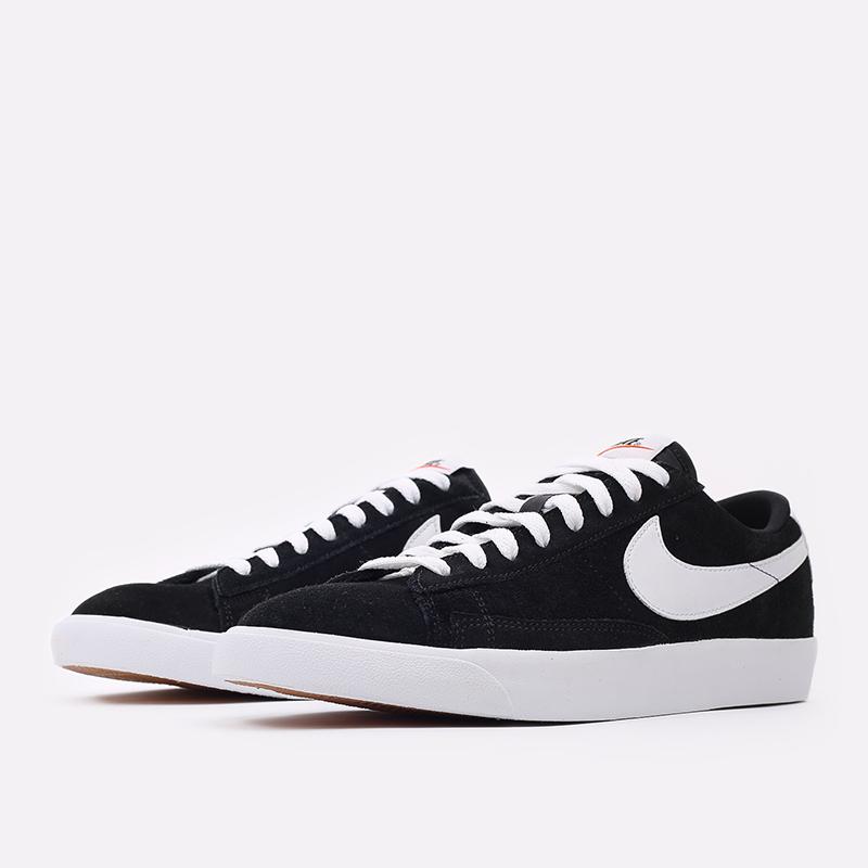 мужские чёрные  кроссовки nike blazer low prm vntg suede 538402-004 - цена, описание, фото 2