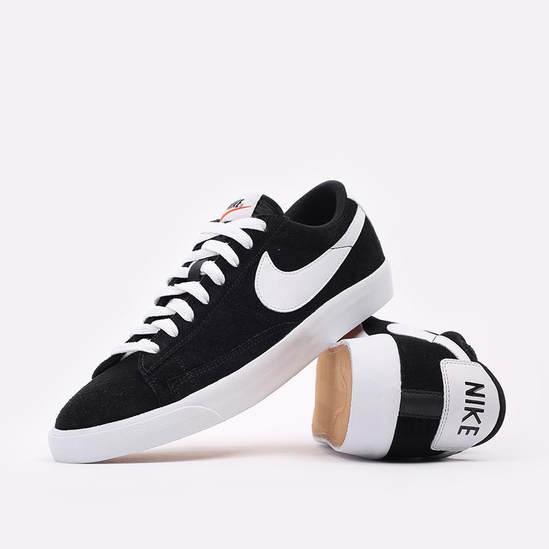 мужские чёрные  кроссовки nike blazer low prm vntg suede 538402-004 - цена, описание, фото 5