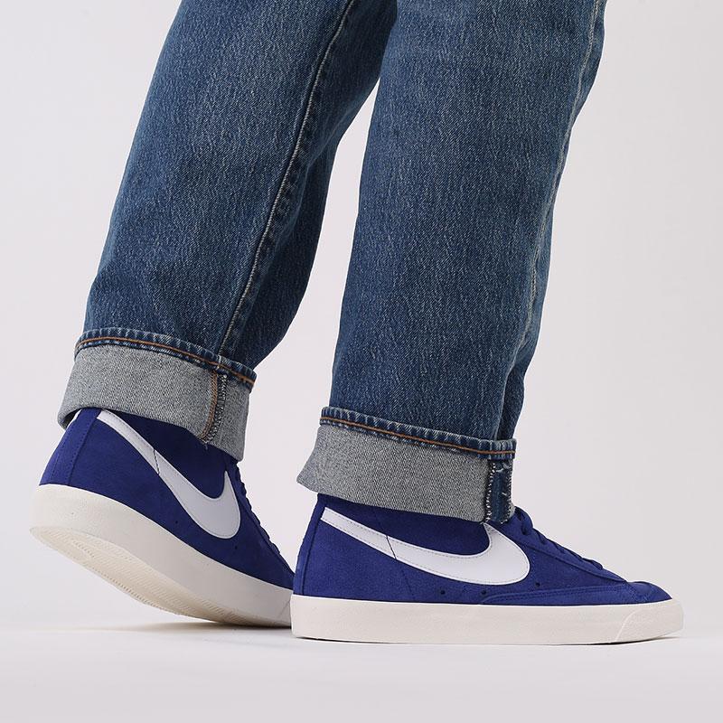 мужские синие  кроссовки nike blazer mid '77 suede CI1172-402 - цена, описание, фото 7