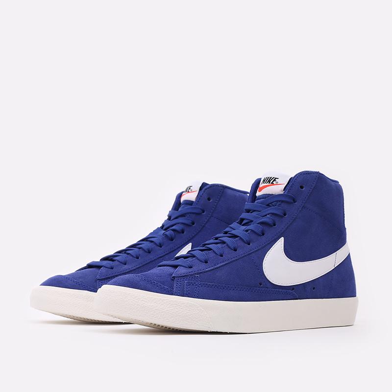 мужские синие  кроссовки nike blazer mid '77 suede CI1172-402 - цена, описание, фото 2