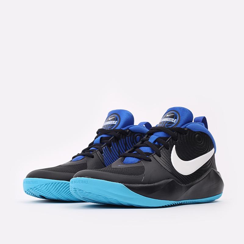 женские чёрные, синие  кроссовки nike team hustle d 9 (gs) AQ4224-012 - цена, описание, фото 2