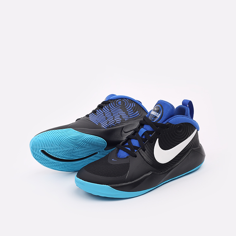 женские чёрные, синие  кроссовки nike team hustle d 9 (gs) AQ4224-012 - цена, описание, фото 6