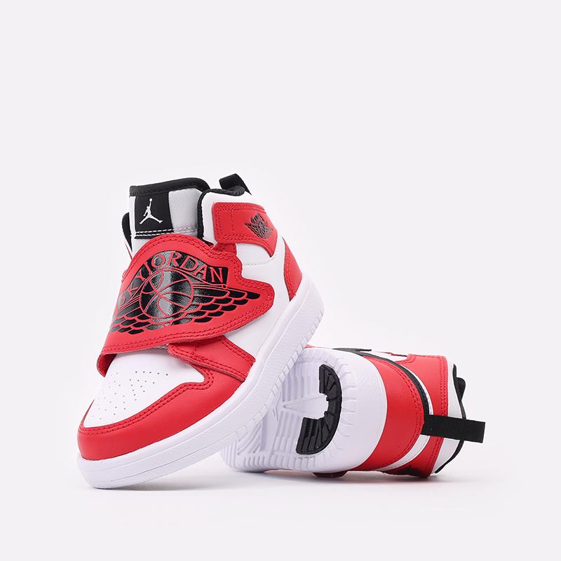 детские красные, белые  кроссовки jordan sky 1 (ps) BQ7197-106 - цена, описание, фото 6