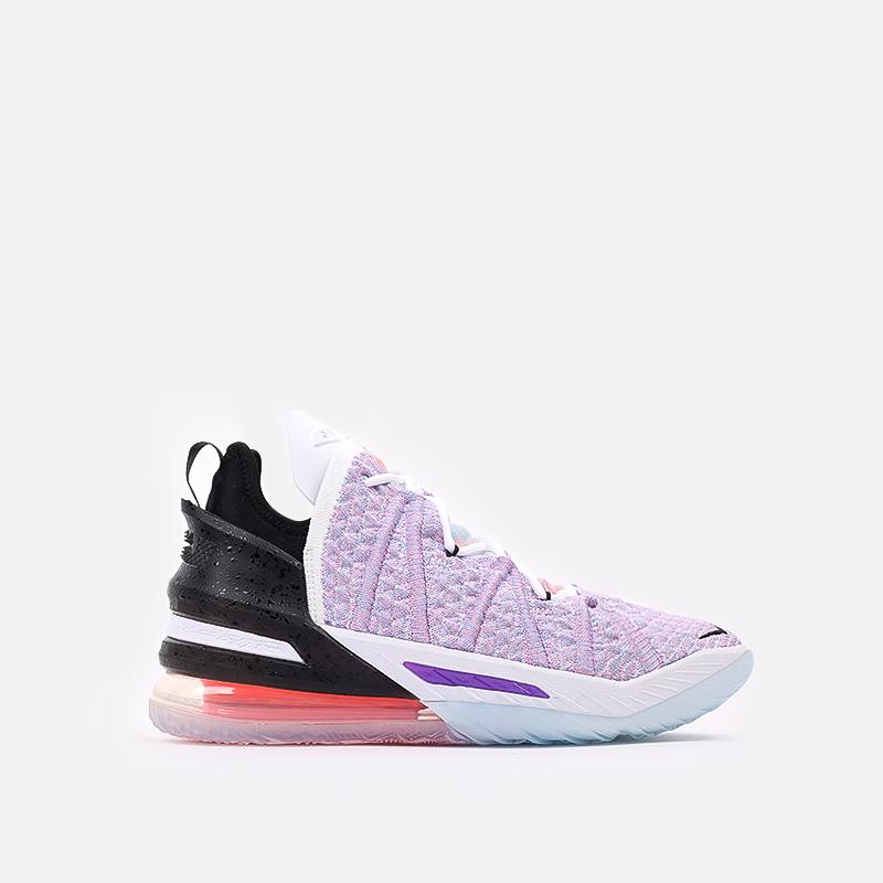 мужские белые, фиолетовые, чёрные  кроссовки nike lebron xviii CQ9283-900 - цена, описание, фото 1