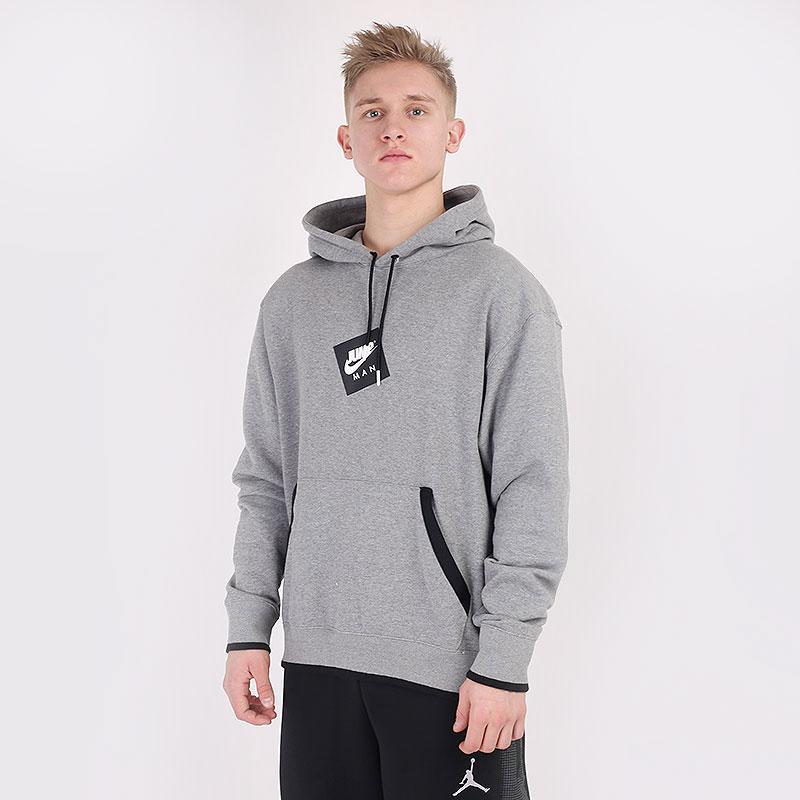 мужскую серую  толстовка jordan jumpman classics printed fleece hoodie CV2244-091 - цена, описание, фото 1