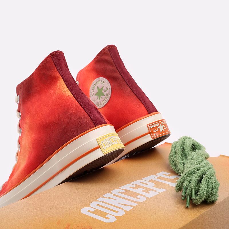 мужские красные  кеды converse chuck 70 hi orange 170590 - цена, описание, фото 8