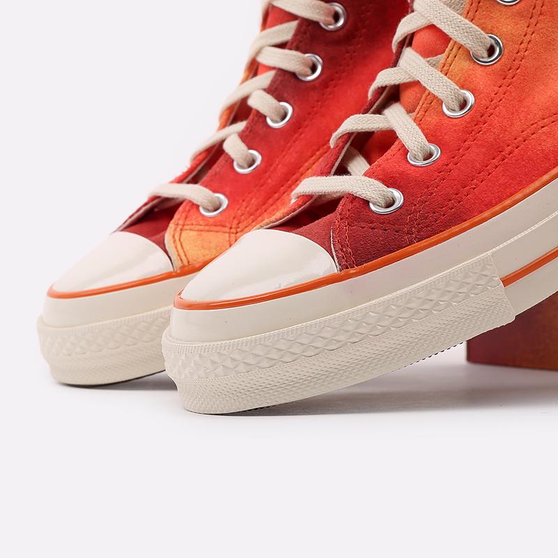 мужские красные  кеды converse chuck 70 hi orange 170590 - цена, описание, фото 7