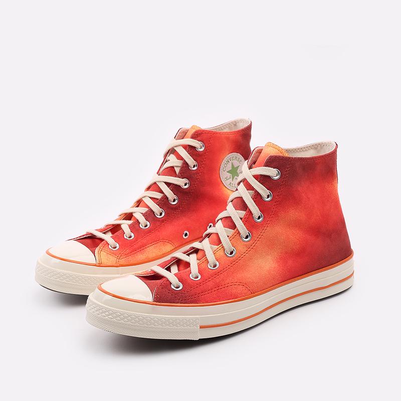 мужские красные  кеды converse chuck 70 hi orange 170590 - цена, описание, фото 4