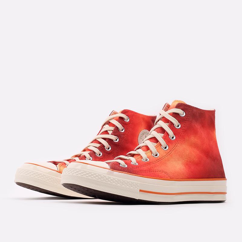 мужские красные  кеды converse chuck 70 hi orange 170590 - цена, описание, фото 2