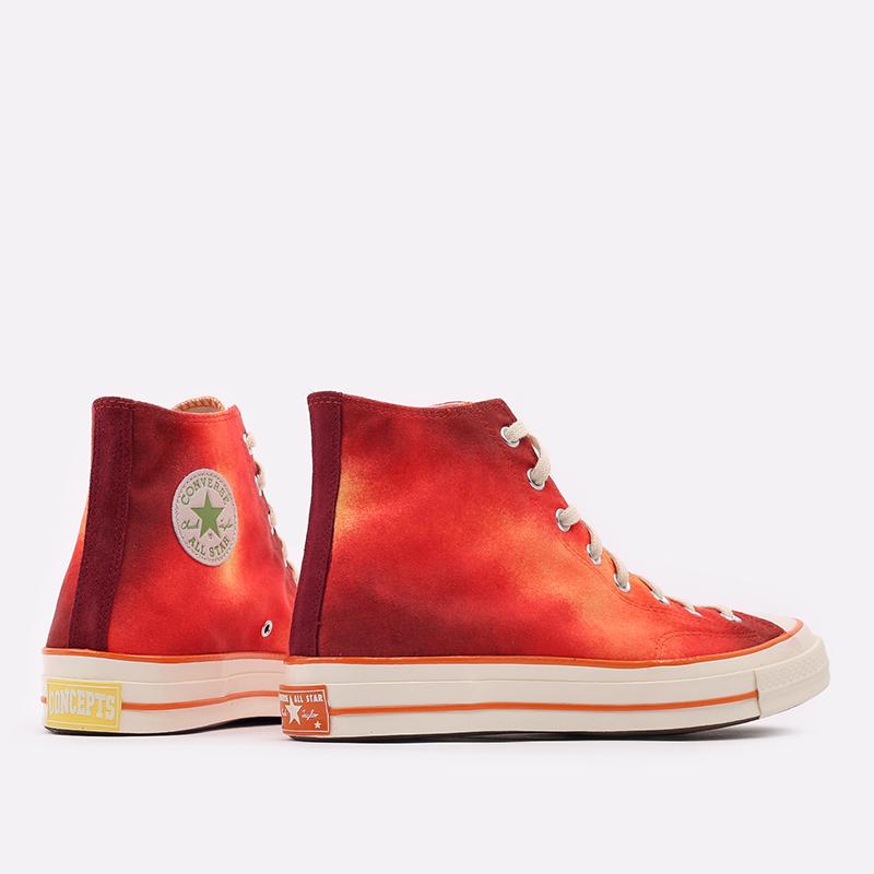 мужские красные  кеды converse chuck 70 hi orange 170590 - цена, описание, фото 3