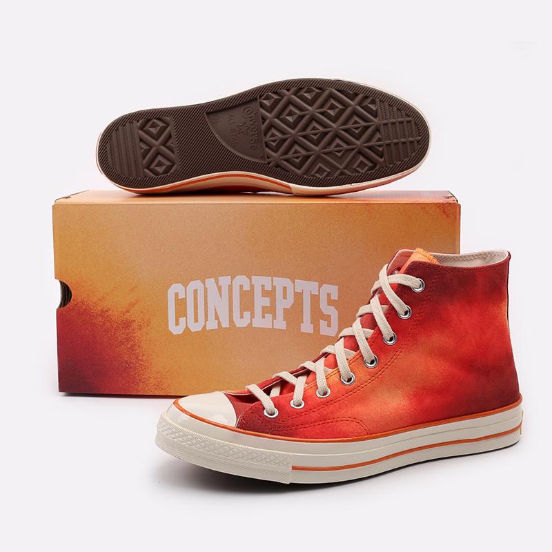 мужские красные  кеды converse chuck 70 hi orange 170590 - цена, описание, фото 5