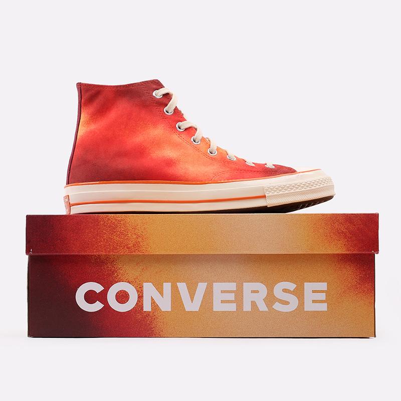 мужские красные  кеды converse chuck 70 hi orange 170590 - цена, описание, фото 6